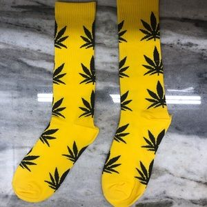 Yellow and Black Weed Socks